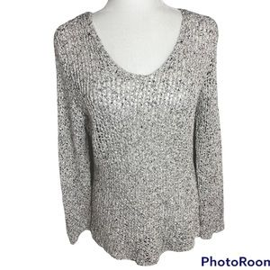 Eileen Fisher White/Black Speckled Open Knit Long Sleeve Round Neck Sweater Sz M